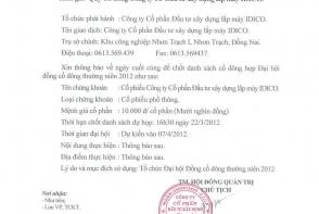 03-2012 THÔNG BÁO CHỐT DANH SÁCH CỔ ĐÔNG